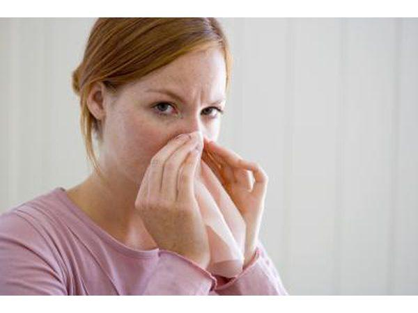 Dry Nose Of Woman blowing nose